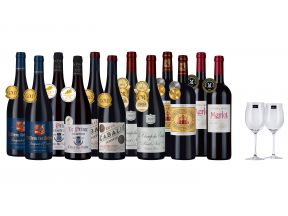 12-bottle Accoladed French Reds Plus FREE Glasses (1 set)