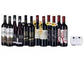 12-bottle Accoladed International Reds + FREE Stemless Glasses x2 (1 set)