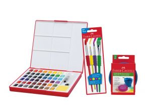 Faber Castell Solid Water Color 48 Set (Including water cup and brushes) (1 set)