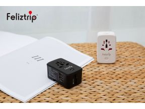 Feliztrip  2 in 1 Multi-Nation & USB Travel Adapter With 5000mAh Power Bank (1 pc)