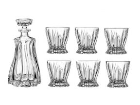 Bohemia Crystal Whiskey set - Plantica (1 Carafe + 6 Glasses) (1 package)