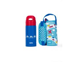 Thermos 400ml Vacuum Insulated Straw Bottle With Pouch (FHL-400) (1 pc)