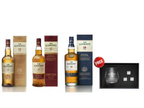 The Glenlivet Single Malt Whisky (12 Year Old, 15 Year Old In French Oak, 18 Year Old) FREE The Glenlivet Whisky Glass With Ice Cube Set (1 set)