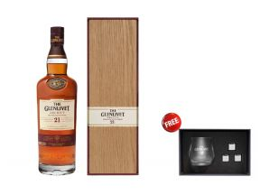 The Glenlivet 21 Year Old Whisky With Wooden Box FREE The Glenlivet Whisky Glass With Ice Cube Set (1 set)