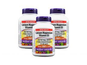 Webber Naturals Calcium Magnesium 333mg/167mg + Vitamin D3 200IU (200 Caplets) (3 Bottles)