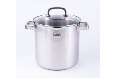 Style N' Cook Stuttgart Stainless Steel Stock Pot 24cm with Glass Lid (1pc)