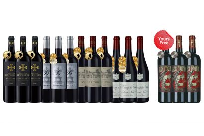 12-bottle Gold-medal French Reds Case plus 3 FREE bottles (1 set)
