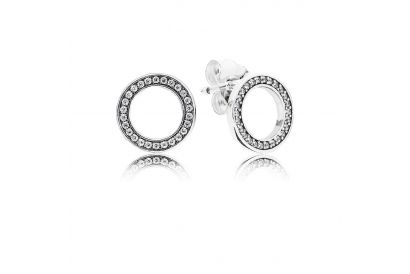 Pandora Silver Stud Earrings with Clear Cubic Zirconia (1 pc)