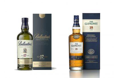 Ballantine's 17 Year Old Blended Whisky + The Glenlivet 18 Year Old Single Malt Whisky (1 set)