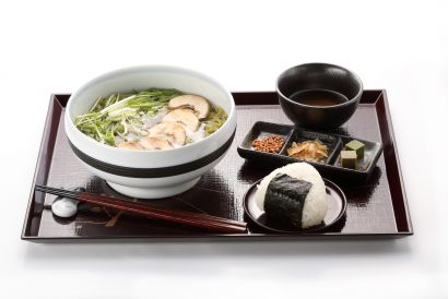 UJI-EN - Tokushima Chicken Namacha Men / Somen and onigiri set with hot or ice matcha (dine-in only) (1 pc)