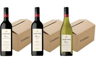 Jacob's Creek Regional Reserve Range (Cabernet Sauvignon 6 bottles + Shiraz 6 bottles + Chardonnay 6 bottles) (1 set)