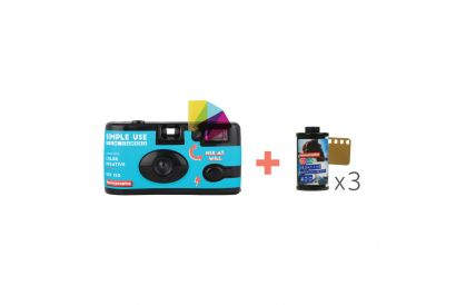 Simple Use Film Camera Color Negative 400 (1 pc) + Lomography Color Negative 400 ISO 35mm Film (3 Pack)