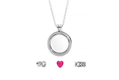 Pandora Moment Collection Silver Necklace Pink Heart Set (1Set)
