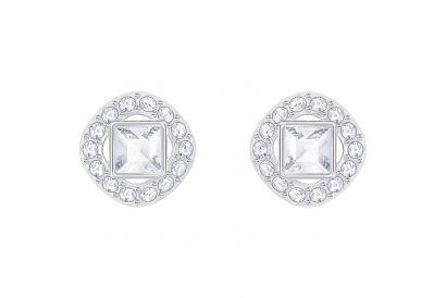 Swarovski Angelic Square Pierced Earrings, White, Rhodium Plating (1 pair)