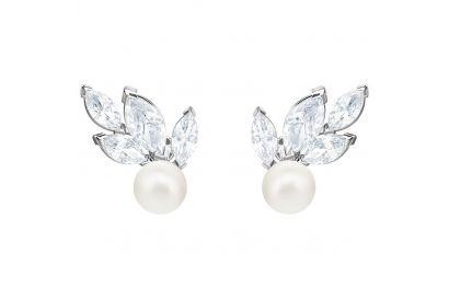 Swarovski Louison Pearl Pierced Earrings, White, Rhodium Plating (1 pair)