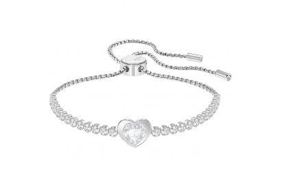 Swarovski Subtle Heart Bracelet, White, Rhodium Plating (1 pc)