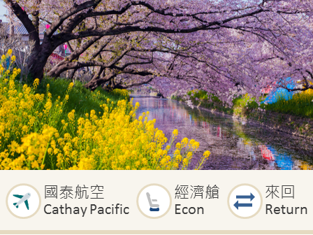 Cathay Pacific Hong Kong-Nagoya economy class round trip flight ticket