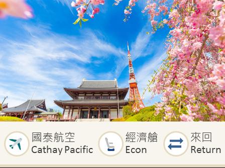 Cathay Pacific Airways Hong Kong-Tokyo (NRT) economy class round trip flight ticket