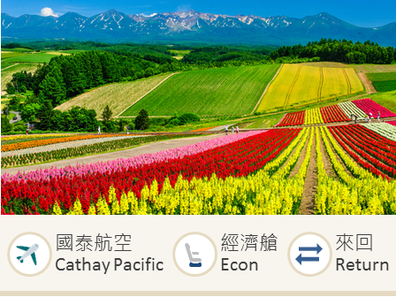 Cathay Pacific Airways Hong Kong-Sapporo economy class round trip flight ticket